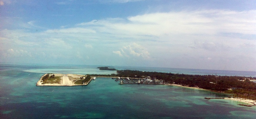 The view of Cat Cay harbor.